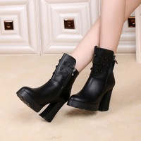Women Boots 2014 Popular Autunm Winter Waterproof Boots High-heeled Boots Round Toe Fashion European Martions Boots