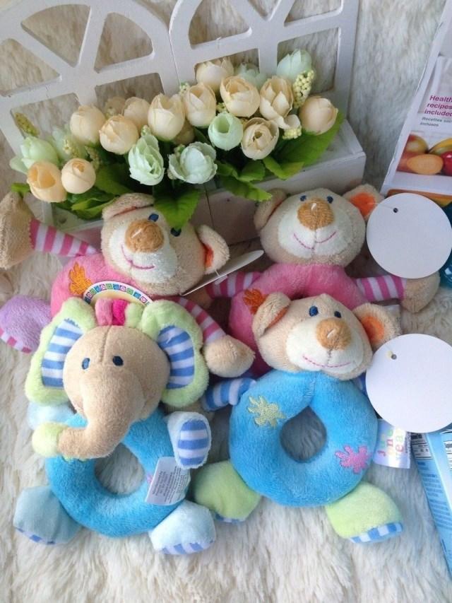 2015 Hot Cute 6 Design Baby Girls Boys Infant Hand Rattle Animal Soft Plush Doll Educational Carter's Toys 0+(China (Mainland))