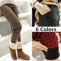 S-XL New Winter Women's Pants Fashion Plaid Square Plus Velvet Thickening Warm Pants Plaid Pants Women's Leggings Pants