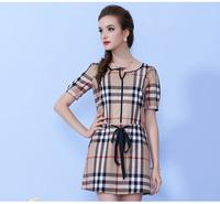 2014 Summer slim short-sleeve british style plaid check one-piece dress female women's one-piece dresses victoria dress