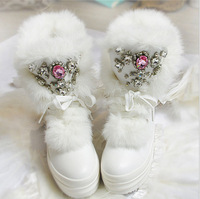 Free shipping luxury  rabbit fur snow boots fashion rihestone snow boots women beading leather boots