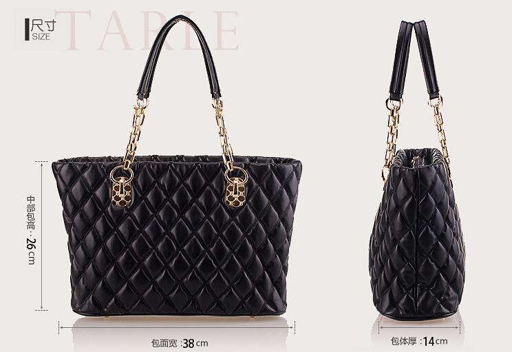 Hot Elegant Vintage Women Lady Celebrity PU Leather Tote Handbag chain plaid Shoulder Hand Bag wholesale 14 TB122(China (Mainland))