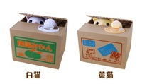 30pcs/lot Free shipping novetly Itazura Cat Steal Coin Piggy Bank Steal Coin Box For Kid's Gift