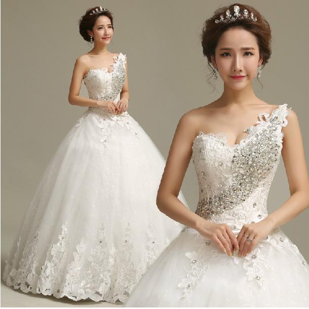 2014 top sexy robe de mariée robe de princesse en strass mariée doux une bandoulière joli haut- qualité pour marier robes,