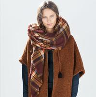 za winter 2014 new design unisex plaid brand scarf warm basic wrap shawl women female Cashmere scarves Christmas gift