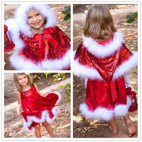 New 2014 Baby Girl Merry Christmas Girls Dress Girl Sequined Red Sleeveless Dress+Cape+Hat Kids Santa Clothes 2pc/set 5Sets/Lot