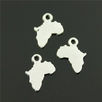 100pcs/lot 13*10mm antique silver plated africa shape charms