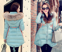 Women Slim Fit Winter White Duck Coat Large Fur Collar Overcoat Thickening Down Jacket Plus Size XXL Warm Parka for Women