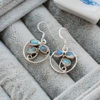 Nepal handmade pure silver inlaying natural labradorite earrings 608