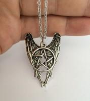 Supernature Geometry Wings Amulet To Ward Off Evil Pentagram Necklace