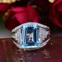 Christmas NEW Wedding Band Diamond Topaz Ring Emerald Cut 10x12mm 14Kt White Gold R00322