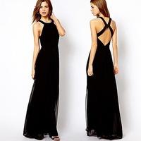New Designer Fashion Sexy  Backless Cross back Sleeveless Long Cocktial Prom Flomal Dress for Women Bandage Dress Slim  WZA367