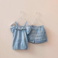 Girls summer baby children denim sets sling tops + shorts kids lovely suits N1CS310-11