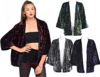 Fashion Women Luxury Sparkly Sequins Open Front Kimono Batwing Velvet Cardigan Casual Clubwear Party Cocktail Coat Jackets