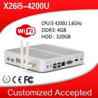 2014 New arrival support 3G and WiFi X26-I5 4200u 4G DDR3 320G HDD mini ITX PC hdmi htpc tiny computer