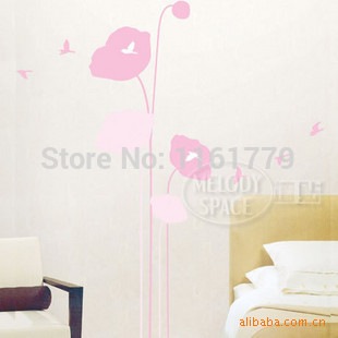 Wholesale fashion wall stick pink flower sitting room the bedroom TV setting wall stickers TC2080 back the restaurant(China (Mainland))
