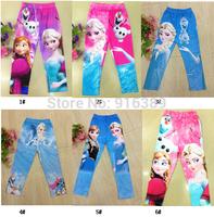 Wholesale-Baby Girls Frozen pants Kids Frozen pink Pants elsa Anna princess pants Girl Frozen pants