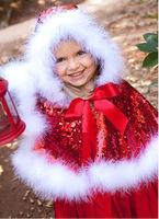 2014 Fashion Models For Girls Christmas Cloak Fro Elsa Anna Styles Girl Cloak Christmas Santa Red Cloak For Girls 5pcs/Lot