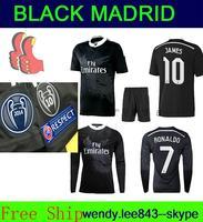 2014 2015 Champions Real Madrid 14/15 Soccer Jersey JAMES RONALDO CHICHARITO Madri Black 3rd Kit Dragon Shirt Thailand Wear