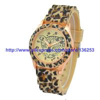 New Arrival Casual Sexy Women Fashion Leopard Rhinestone Dress Watches GENEVA Silicone Quartz Wrist Watches 6 Colors 30pcs/lot