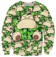 POKEMON green leaf women hoody 2014 Women Fashion Sweatshirt 3D Cartoon Print Casual Sweatshirt Femal pullovers