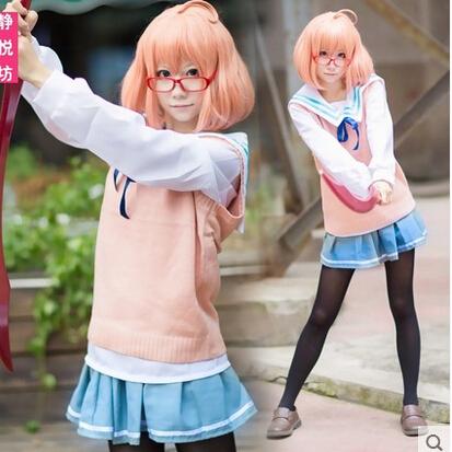 Cartoon Kyokai no Kanata Kuriyama Mirai cosplay costume Long sleeve sailor suit sweater silk stockings glasses wig whole set(China (Mainland))