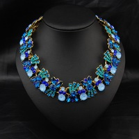 Wholesale 2014 Women Accessories Luxury Fashion Jewelry Crystal Flower Collar Vintage statement Choker necklace For Christmas