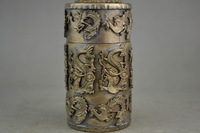 Collectible chinese handwork old tibet silver craft boxs, carving dragon phoenix toothpick box Free shipping