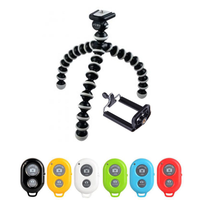 2014 New Hot Gorillapod Type Flexible Leg Mini Tripod for Digital Camera (S) + Phone Holder + Bluetooth Wireless Remote(China (Mainland))