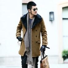 Fashion Mens Trench Coats Long Turn-down Collar Long Sleeve Mens Woolen Jackets Casual Winter Warm Outwear Jackets Coats(China (Mainland))