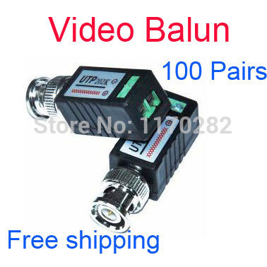 200pcs/lot (100 pairs) CCTV Twisted BNC Passive Video Balun Transceiver COAX CAT5 Camera UTP Cable Coaxial Adapter free shipping(China (Mainland))