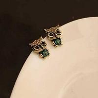 1Pair Free Shipping Chic Women Owl Design Rhinestone Ear Studs Fashion Jewelry Drop Shipping