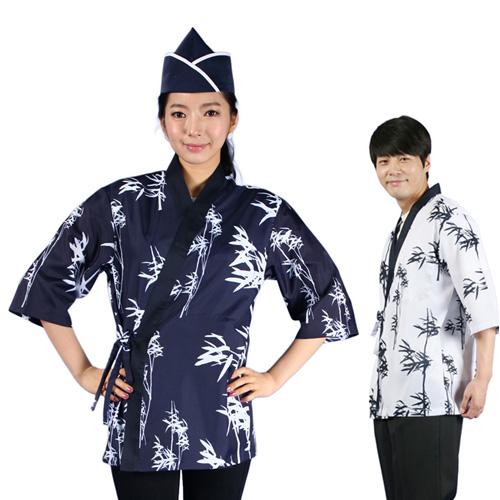 FREE SHIPPING bamboo print cook suit kimono japanese style sushi food service waiter coat chef jacket(China (Mainland))