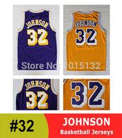 Los Angeles #32 Magic Johnson Basketball Jersey Throwback Yellow, Purple Free Shipping
