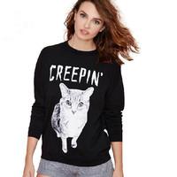 New 2014 Fashion Autumn Sweatshirt Full Sleeve Letter Creepin Cute Kitty Printed Sweatshirt Tracksuits Women Hoody Pullovers