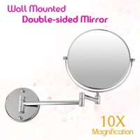 New Bathroom Mirror 8 inch Wall Mounted Extending Folding Double Side 10x Magnification Mirror for Makeup/Cosmetic