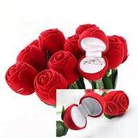 1PCS 2014 New Wholesale Fashion Jewelry Gif Box Red Rose Flower Design Rings Pendant Case Storage Box Free Shipping