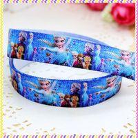 5/8'' Free shipping Fold Over Elastic FOE frozen elsa printed headband headwear hair band diy decoration wholesale OEM P3484