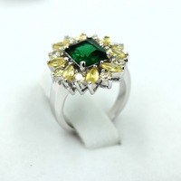 Shinee! Free shipping  fashionable emerald and citrine CZ rings woemn top quality silver for women