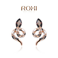 ROXI High Quality Fashion Rose Gold Plated Genuine Austrian Crystals Cool Snake Party Earrings Christmas gifts AN