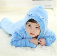 new 2014 baby rompers winter newborn thermal one piece solid color border hooded cotton romper baby boy clothes