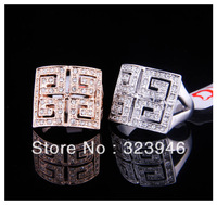 Free shiping 18k rose gold/platinum plated silver new arrival T brand square Rhinestone Fashion woman ring F&H jewelry wholesale