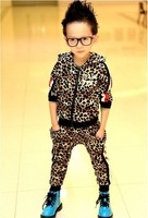 Free shipping,5 sets/lot,Children clothing/suit,2014 new autumn boy and girl leopard suit boys and girls