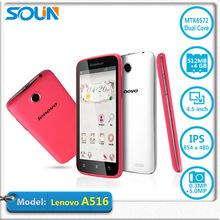 Original Lenovo A516 Android 4.2 Dual Core Phone MTK6572 1.3GHz 4.5″ IPS 854x480px 4GB ROM 5.0MP Camera Dual SIM WCDMA Bluetooth