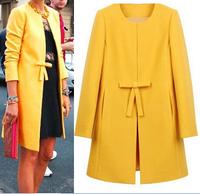 Plus Size Women's Winter Coats Long Red Sobretudos Femininos Yellow Wool Trench Coat 2014 Casaco Longo XXL Woman Blue Clothes076