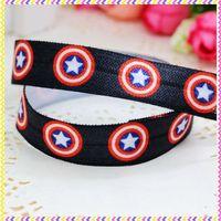 5/8'' Free shipping Fold Over Elastic FOE captain printed headband headwear hair band diy decoration wholesale OEM P3498