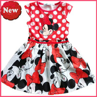 dress girl Red and white dot blouse cartoon design covered the entire dress  christmas dress free shipping