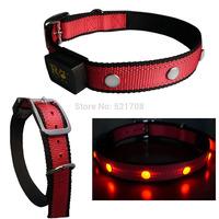 LED Light up Flashing Large Dog Collar Nylon Adjustable Pet Collars ( Red Collar )