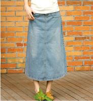 2015 NEW Spring Autumn Charming Lady Stretch DENIM Skirts Loose Casual Women Long Jean Skirt bust denim skirt