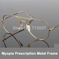 Lovey New arrival Retro Men's 3025 Aviator Metal Frame Eyeglasses Big Memory Myopia Optical Prescription Eyewear Frame